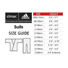 Judo Suit Size Chart Adidas K220sk Karate Uniform Wkf Approved Sugarrays