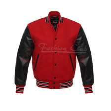 men s real leather wool varsity letterman jacket red w black leather sleeves