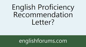 English Proficiency Recommendation Letter