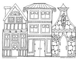 Welcome to the wacky world of free printable coloring pages, by the coloring barn! Christmas Village Art To Color Coloring Pages Christmas Coloring Pages House Colouring Pages