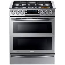 stove samsung. samsung 30 in. 5.8 cu. ft. slide-in dual door double oven, fuel range with self-cleaning convection oven in stainless steel-ny58j9850ws - the home stove e
