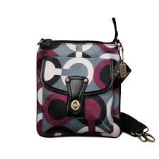 coach swingpack in signature medium khaki crossbody bags 51190  coach  fashion turnlock signature small grey red crossbody bags eot