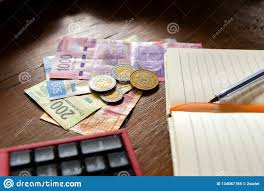 Budget Salary Calculator Money Mexican Pesos Making A Budget Stock Image Image