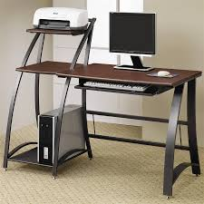 Functional Slim Computer Desk Design With Brown Wooden Countertop Standing  Printer Cream Floor ...