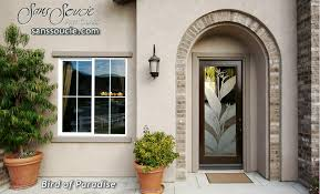 front doors with glass etched tropical