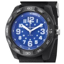 Lighted Dial Watches For Mens Us Air Force Wrist Armor Lighted Blue Dial Black Nylon Strap Watch