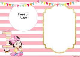 printable 1st birthday invitation templates free printable minnie mouse 1st