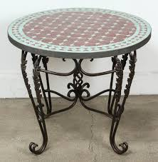 hand crafted moroccan round mosaic tile side table indoor or outdoor for