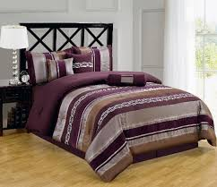 11pc purple chocolate gray striped comforter sheet st full queen king cal king