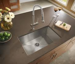 modern sinks kitchen ideas with single rectangular stainless steel undermount sink bowl and chrome metal commercial faucet with pro style