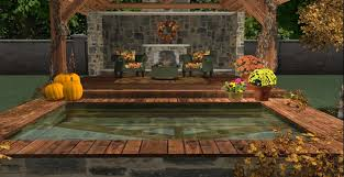 fall outdoor room with reflecting pool pumpkins wicker furniture fireplace autumn landscaping autumn furniture