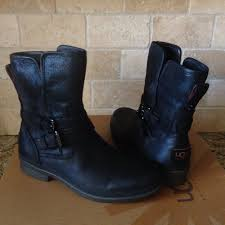 details about ugg simmens black waterproof leather sheepskin ankle boots size us 5 womens