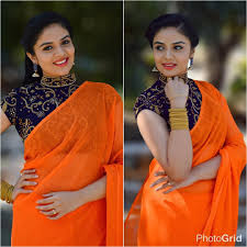 Simple Saree With Heavy Designer Blouse This Actress Shows 12 Fresh Ways To Wear Plain Sarees
