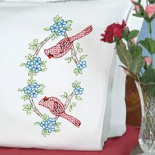 Pillow Case Hand Embroidery Designs Cardinals Pillowcases