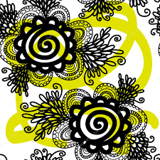 lace black seamless pattern with flowers on white background stock photo