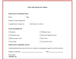 Vacation Time Off Request Template Business Mentor