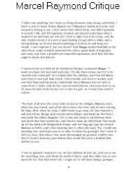 How To Critique An Essay Marcel Raymond Critique Essay