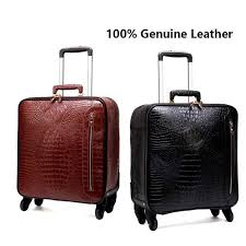 genuine leather rolling luggage men multifunction suitcase wheels 16 inch retro crocodile trolley travel bags laptop bag carry bags toiletry bags from