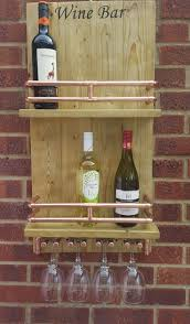 Industrial Style Wooden Wine Bar With Copper Pipe Glass Rack
