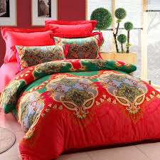 red and green unique indian tribal print 100 cotton full queen size bedding comforter cover sets