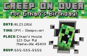 Free Printable Minecraft Invitations First Spa Info