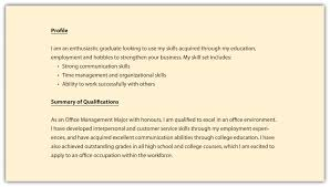 Inspiration Resume Career Profile Template Also Profile For A
