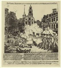 the boston massacre in black white color streetsof m revere