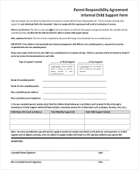 informal child support agreement template child support agreement letter