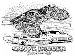 Grave Digger Coloring Pages Monster Truck Within With Regard To