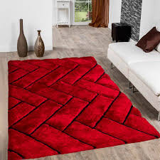 Image Living Room Walmart Allstar Red Shaggy Area Rug With 3d Design With Black Lines Contemporary Formal Casual Hand Tufted 5 7