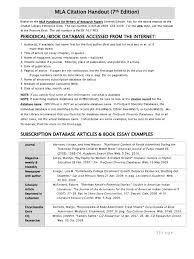 Mla Citation Handout 7th Edition Citation World Wide Web