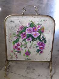 antique brass fireplace screen with hand painted mirror