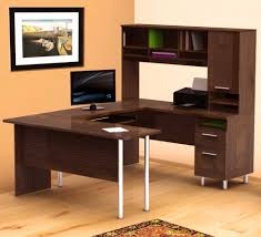 home office l shaped desks. Surprising Design Ideas Using Brown Laminate Floor And Wall Also With U Shaped Wooden Home Office L Desks