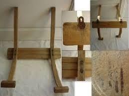 ANCIEN PORTE MANTEAU PATERE MURALE BOIS ARMEE DE Lu0027AIR MILITAIRE ESTAMPILLE  (2)