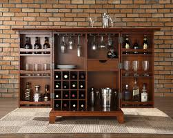 Living Room Bar Cabinet Crosley Furniture Newport Expandable Bar Cabinet In Classic Cherry