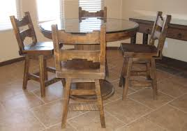 Rustic Round Kitchen Table And Chairs With Armless Chair