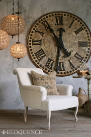 Large patina clock on wall ...love, love, love these huge old