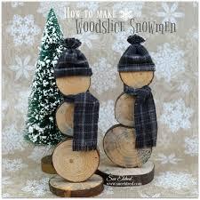 diy how to make wood slice snowmen