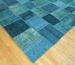 rugsville overdyed patchwork teal wool 17023 rug