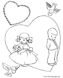 Valentines Day A Boy And A Girl In A Large Heart Coloring Page