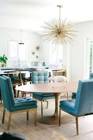 peacock blue furniture. Blue Tufted Dining Chair Chic And Gold Features Peacock Leather Chairs Sat On Brass Legs Surrounding An Oval Mid Century Furniture I