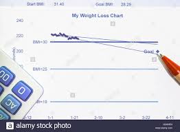 My Weight Loss Chart Using Body Mass Index Bmi Stock Photo