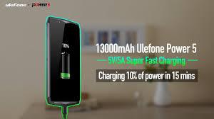 13000mAh Ulefone Power 5 with 5V/<b>5A Super Fast</b> Charge ...