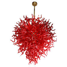medusa fuoco ruby red murano glass chandelier in the style of dale chihuly for