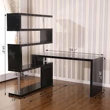 home office corner desks. HomCom HOMCOM Rotating Home Office Corner Desk And Storage Shelf Combo - Black 4 Desks