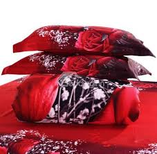 3d red rose printed cotton luxury 4 piece bedding sets duvet covers