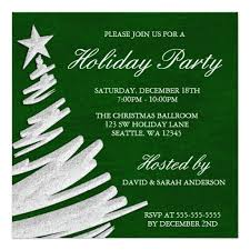 Christmas Invitation Card Green And Silver Christmas Tree Holiday Party Square Paper Invitation Card