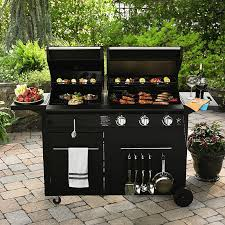 image of outdoor grill and griddle combo black