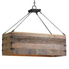 rustic wood iron chandelier wooden plank hanging light ideas 43