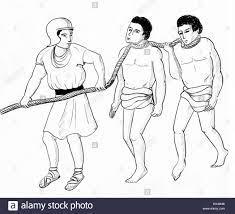 Le dessin des lignes de Grec ou romain d'être esclaves conduit à marché  Photo Stock - Alamy